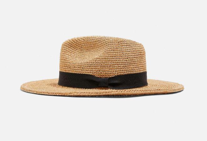Sombrero de rafia con cinta negra