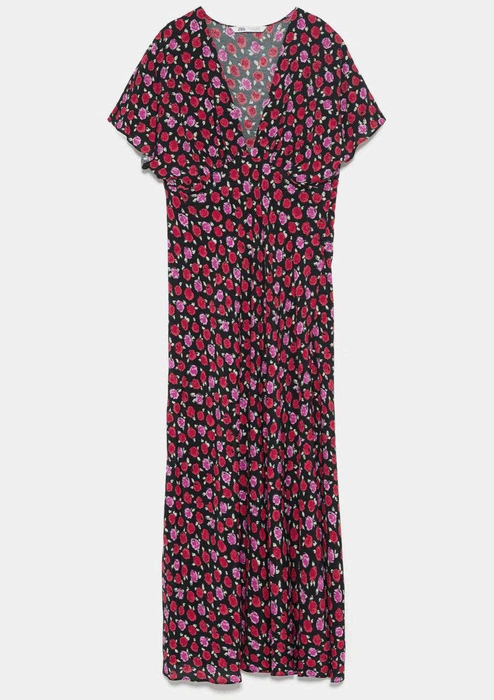 Vestido con estampado floral de Zara