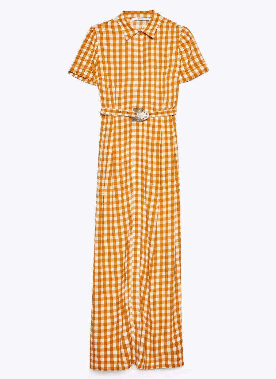 Vestido XL camisero con cuadros vichy de Uterqüe (99¤)