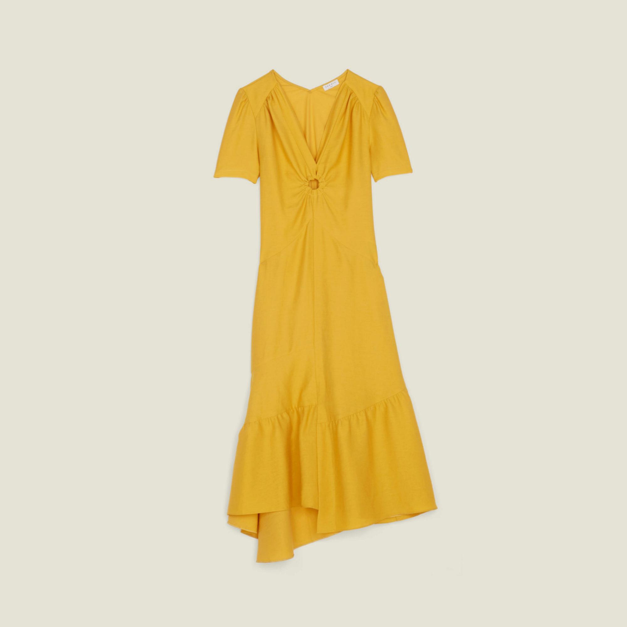 Vestido amarillo asimétrico de Sandro (112,50¤)