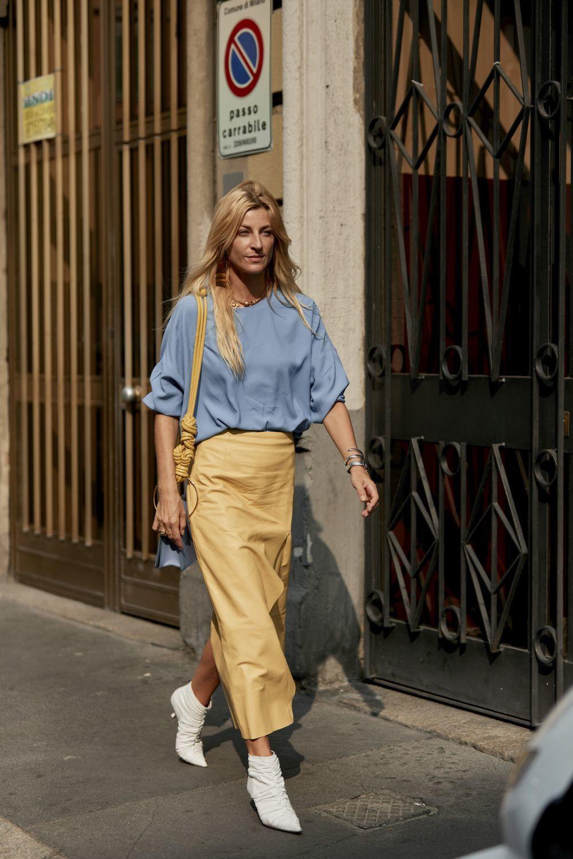 El street style nos da las mejores ideas para combina el azul celeste.
