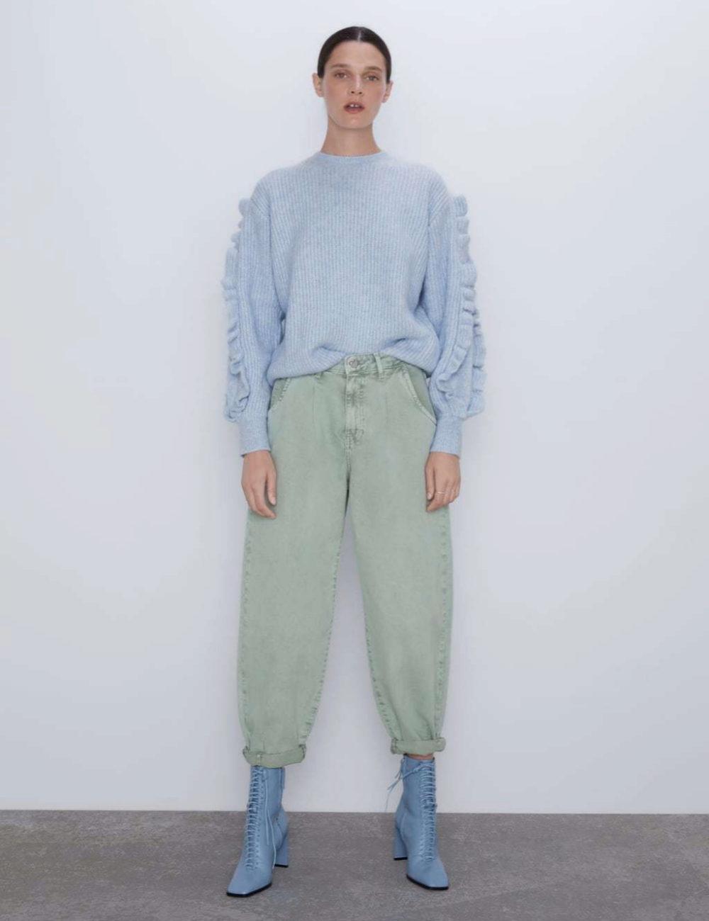 Slouchy pants en color verde, de Zara