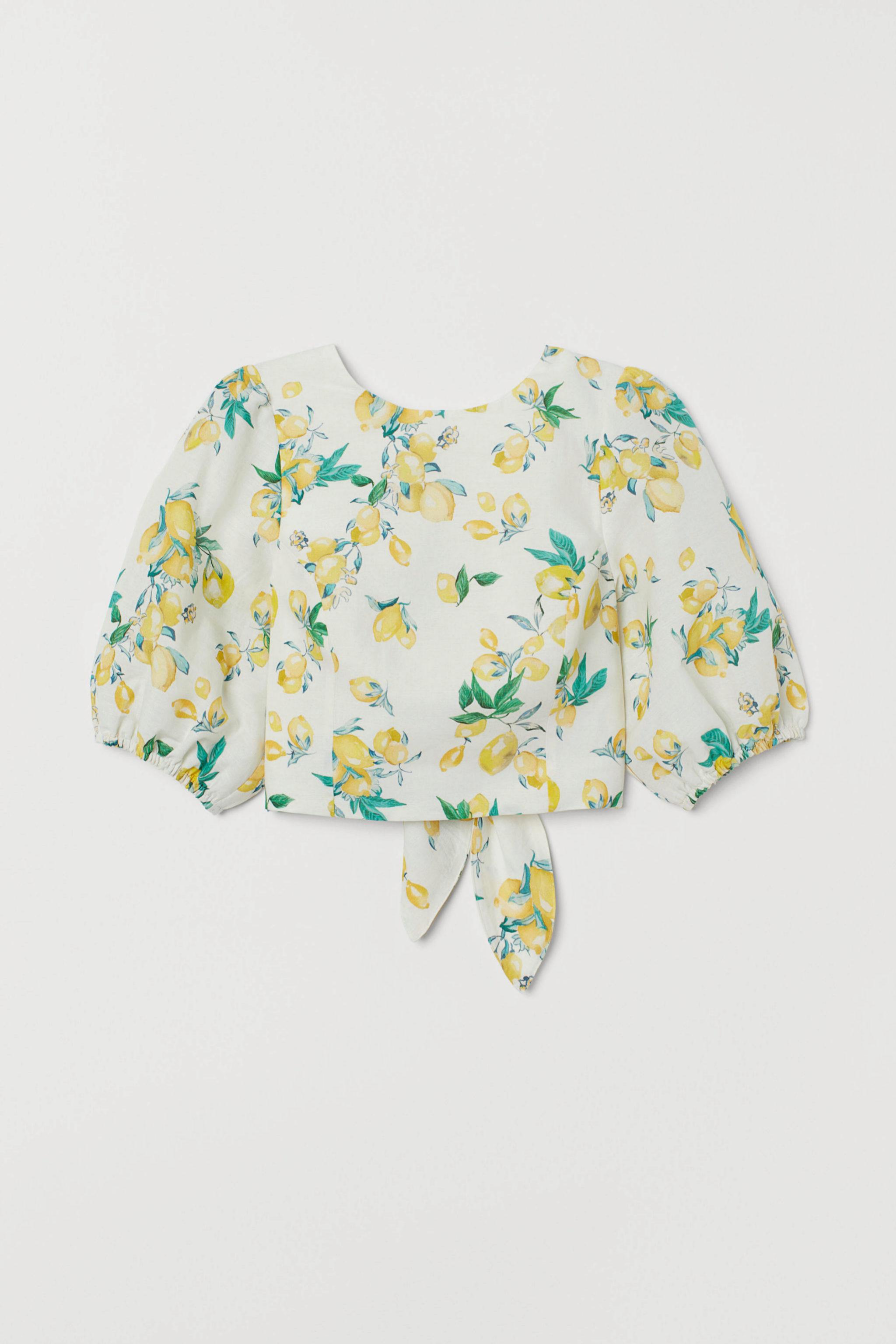 Blusa con la espalda al aire de limones de H&M