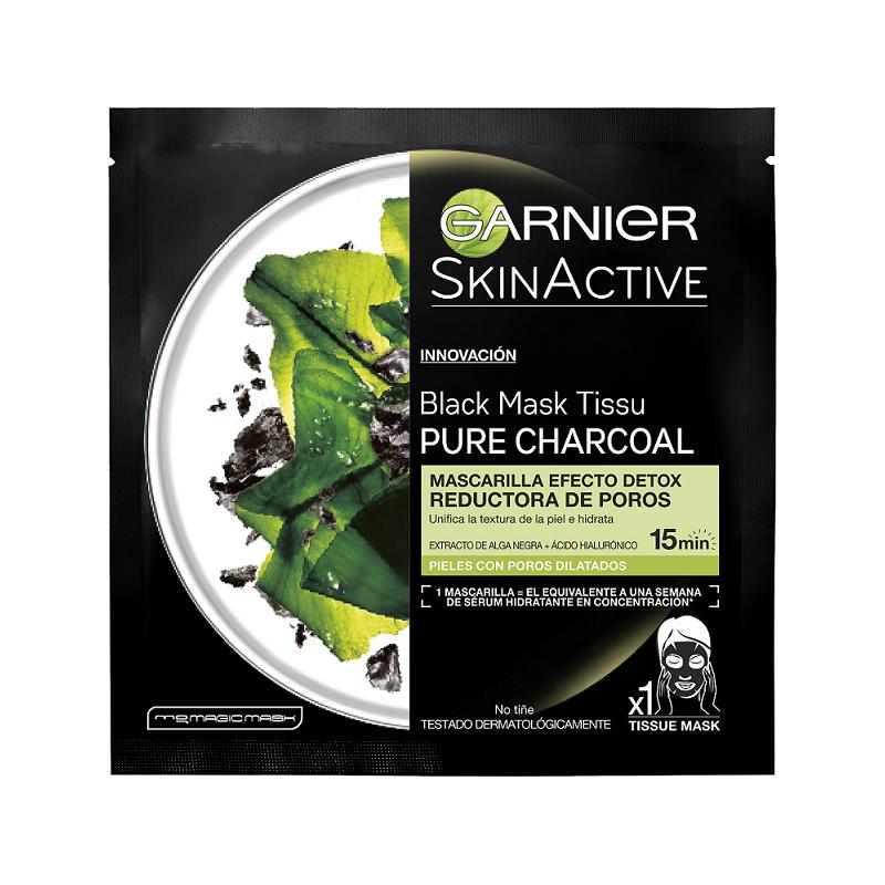 Mascarilla de tejido Pure Charcoal de SkinActive Garnier.