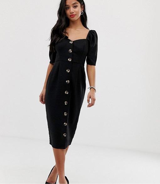 Vestido midi de color negro, de Asos.