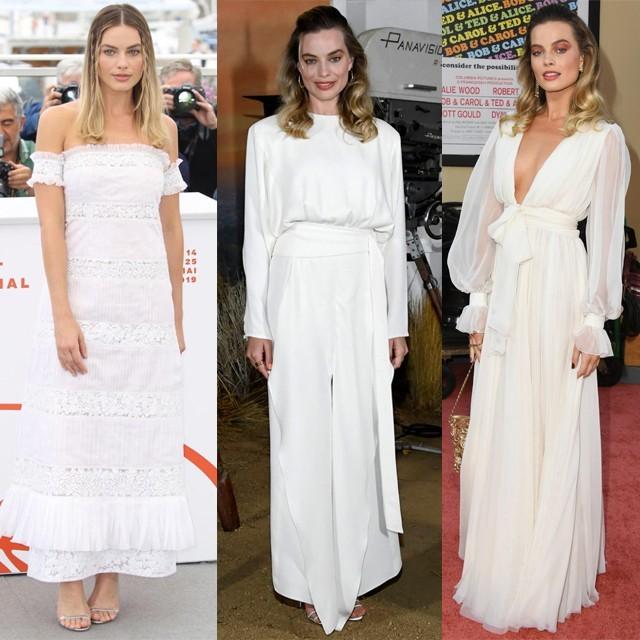 Margot Robbie con distintos vestidos blancos, de Chanel y Derek Lam