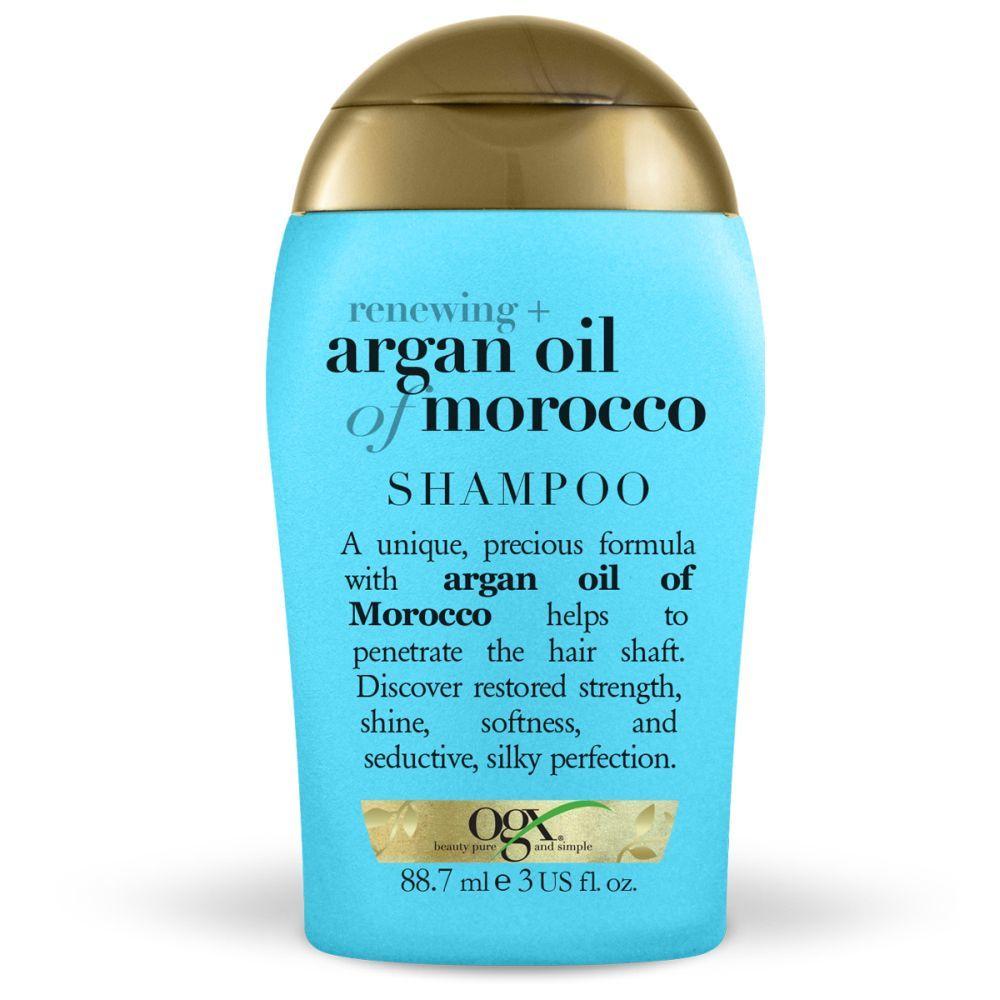 Minitalla de viaje para viajar contigo de champú con aceite de argán de Marruecos antiencrespamiento de OGX (1,99 euros) para una melena sedosa. Sin parabenos, sulfatos ni siliconas.