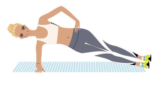 Plancha lateral, que puedes realizar incluso sobre tu toalla en la...