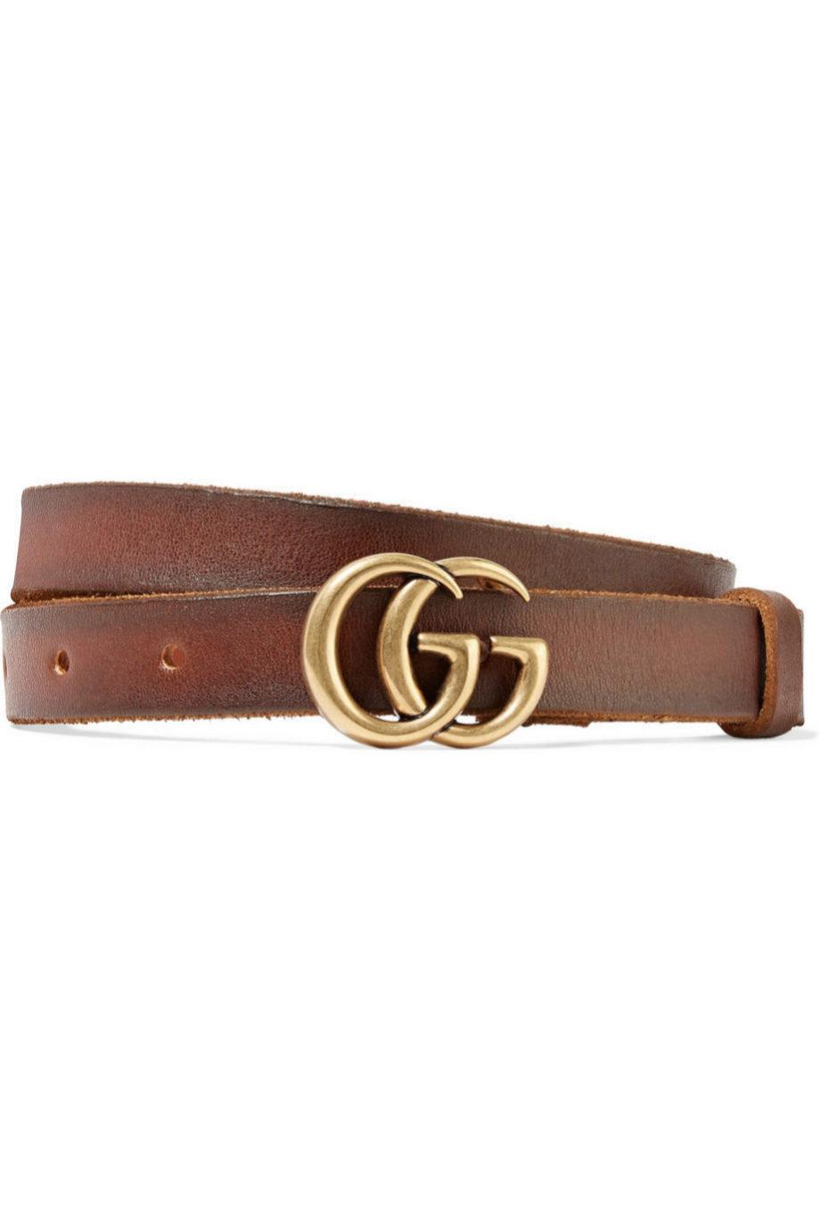 Cinturón de piel desgastado en color marrón de Gucci para Net a...