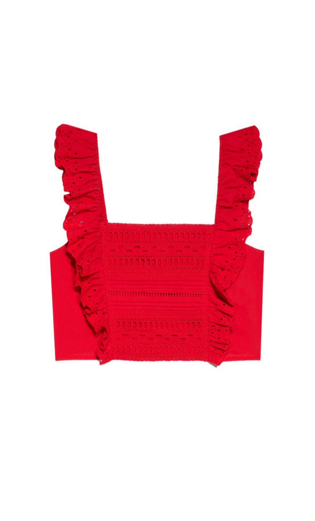 Cropped top con bordados suizos de Stradivarius