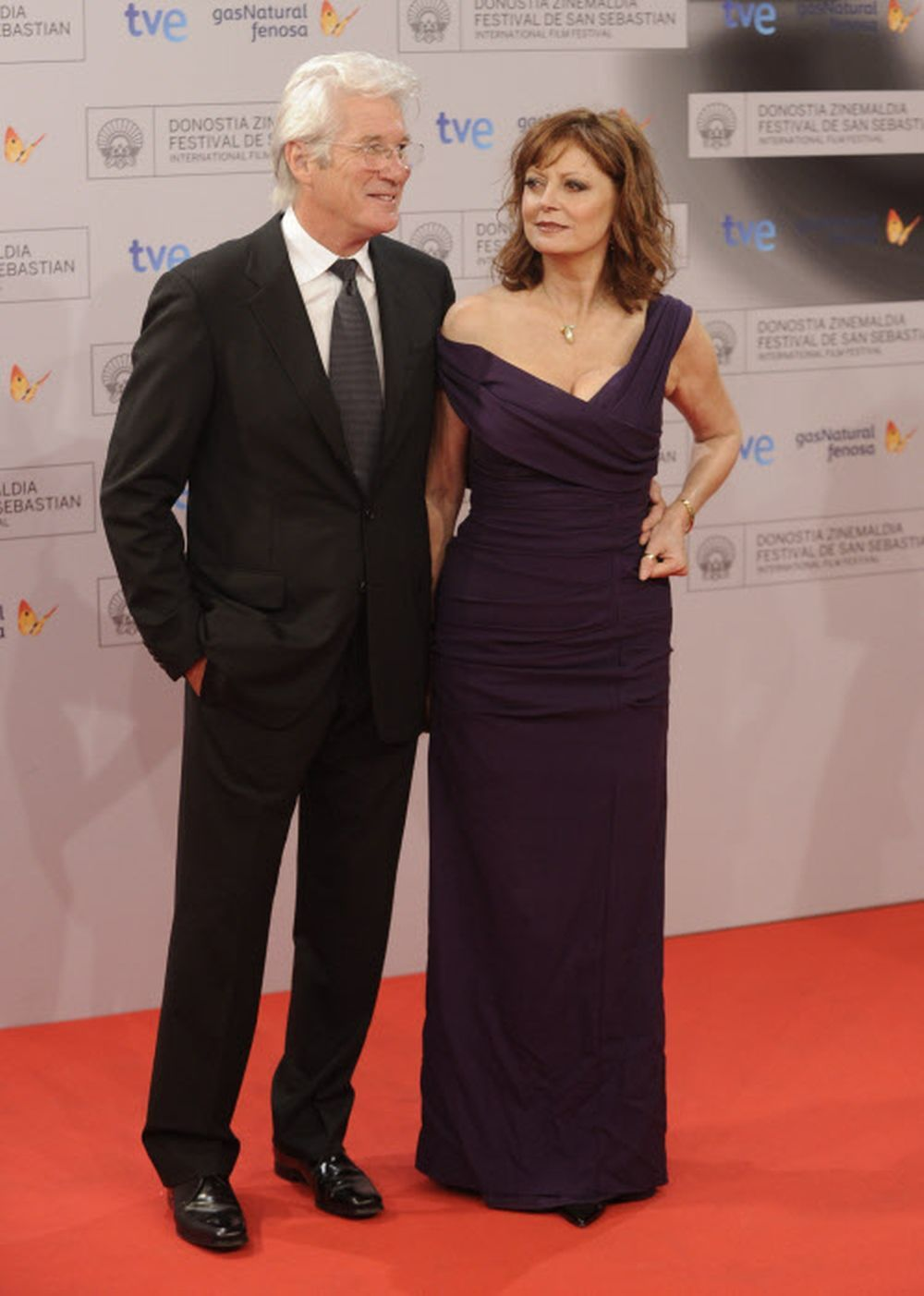 Sarandon junto a Richard Gere en el Festival de Cine de San Sebastián...