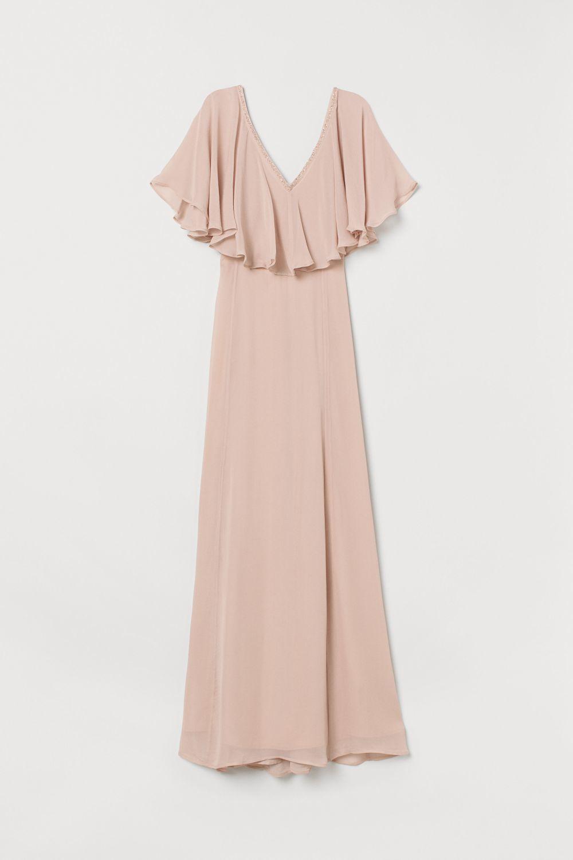 Vestido largo de gasa. H&M. 89,99 euros.