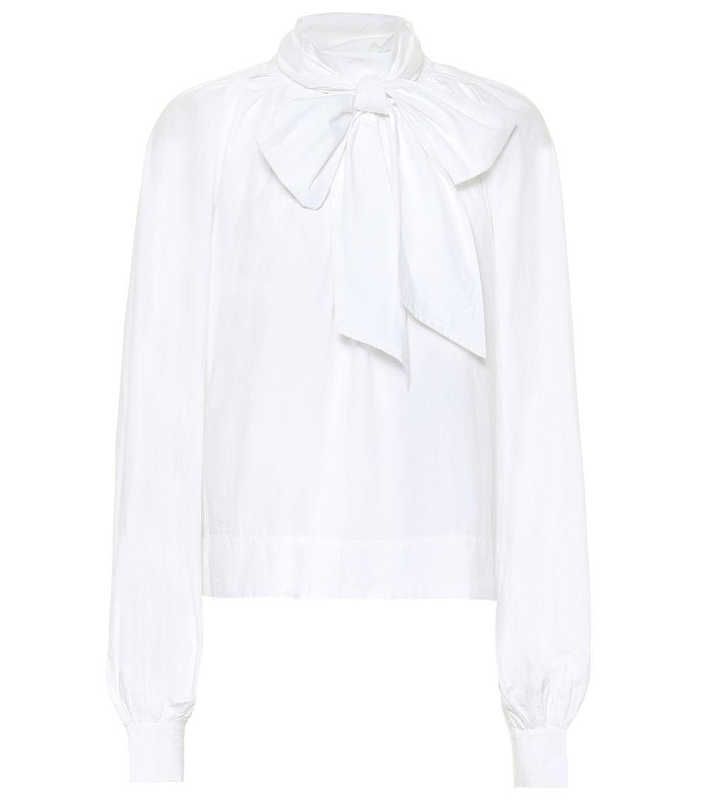 Camisa de algodón con pliegues en los hombros, mangas voluminosas y...