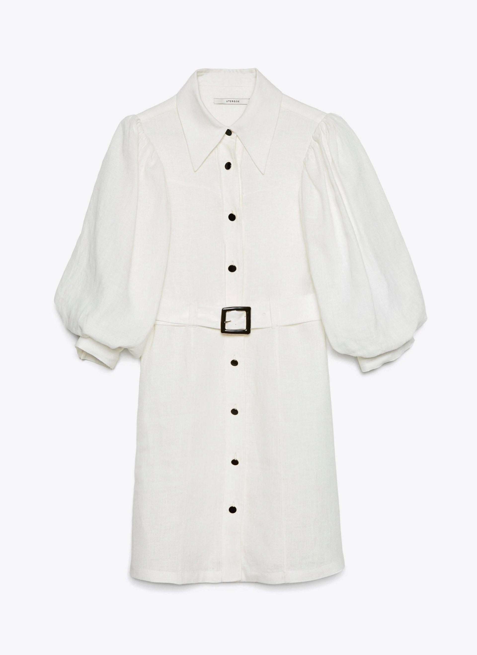 Mini vestido de lino con mangas abullonadas de Uterqüe