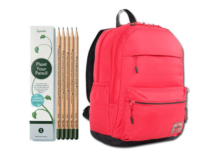 Lapiceros (de Sprout World, 12 euros) y mochila Nadine (de Totto, 44,95 euros).