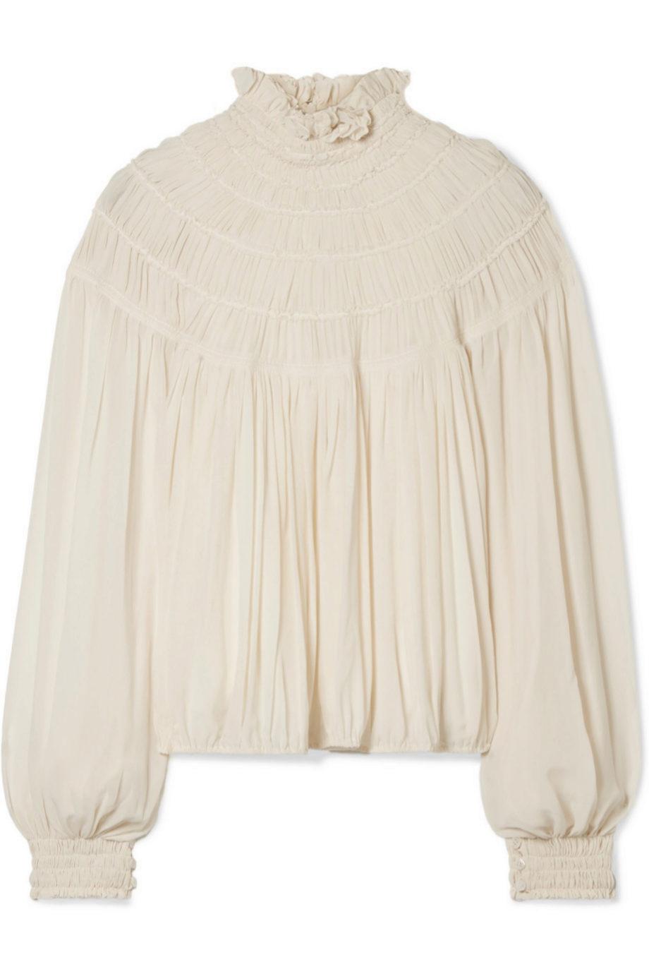 Blusa romántica de seda y crepe de Chloé