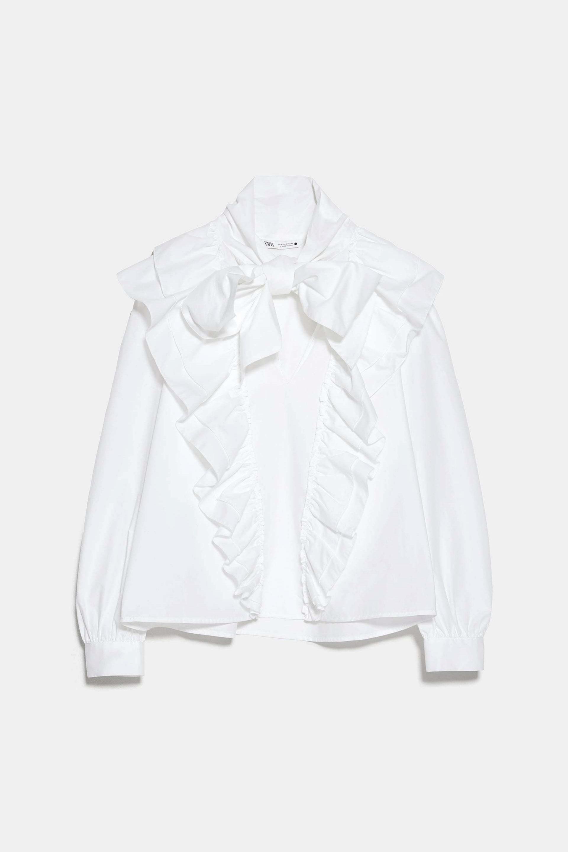 Blusa romántica en popelín con lazo XL de Zara