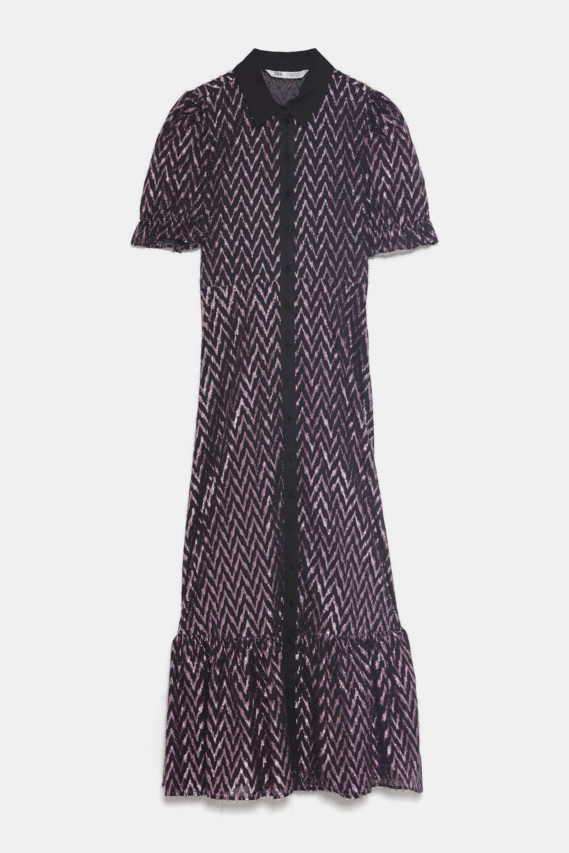 Vestido camisero con pailettes de Zara (49,95¤)