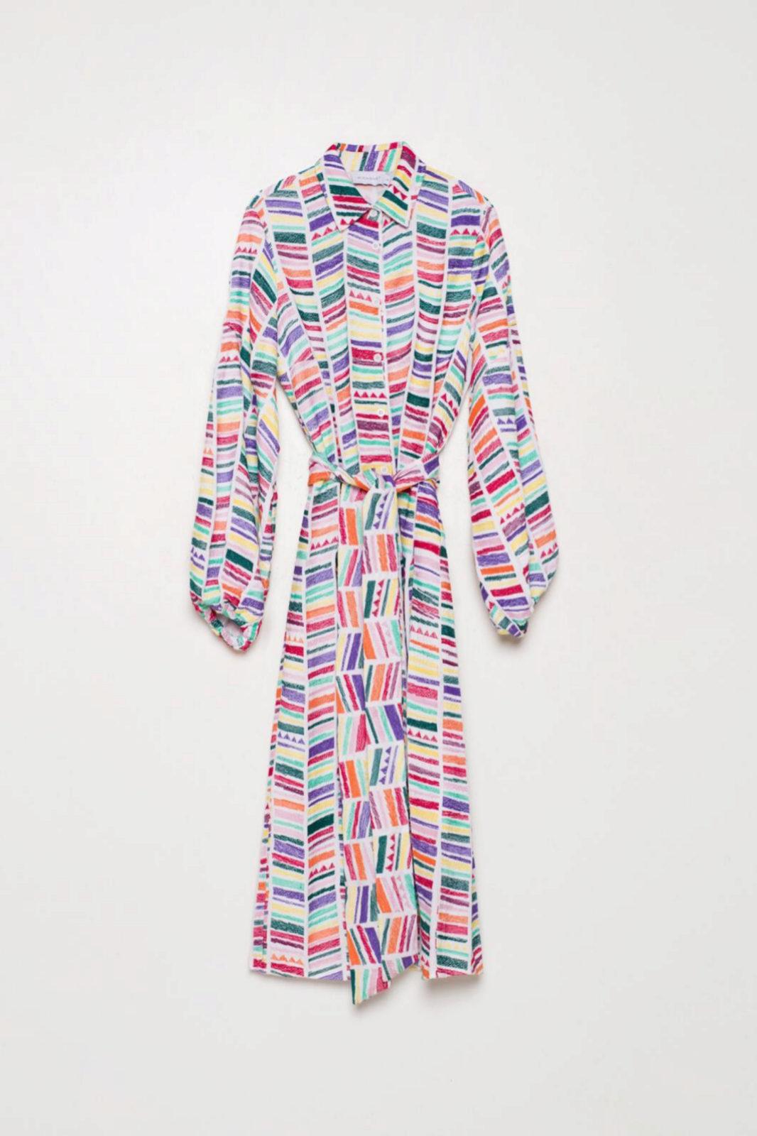 Vestido camisero con estampado étnico multicolor de Michonet