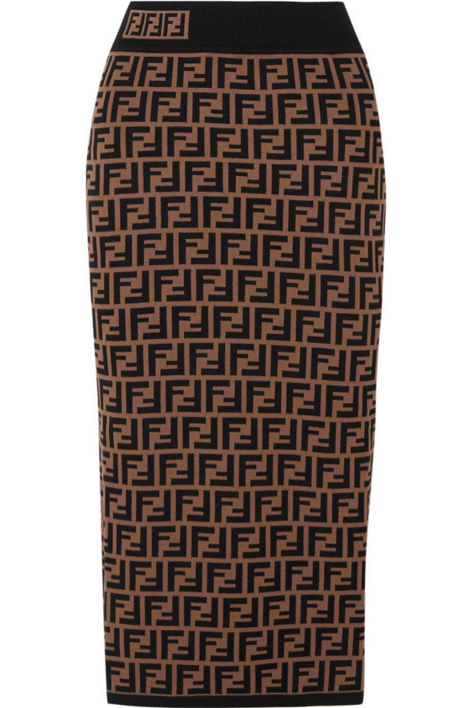 Falda lápiz de punto con print de Fendi