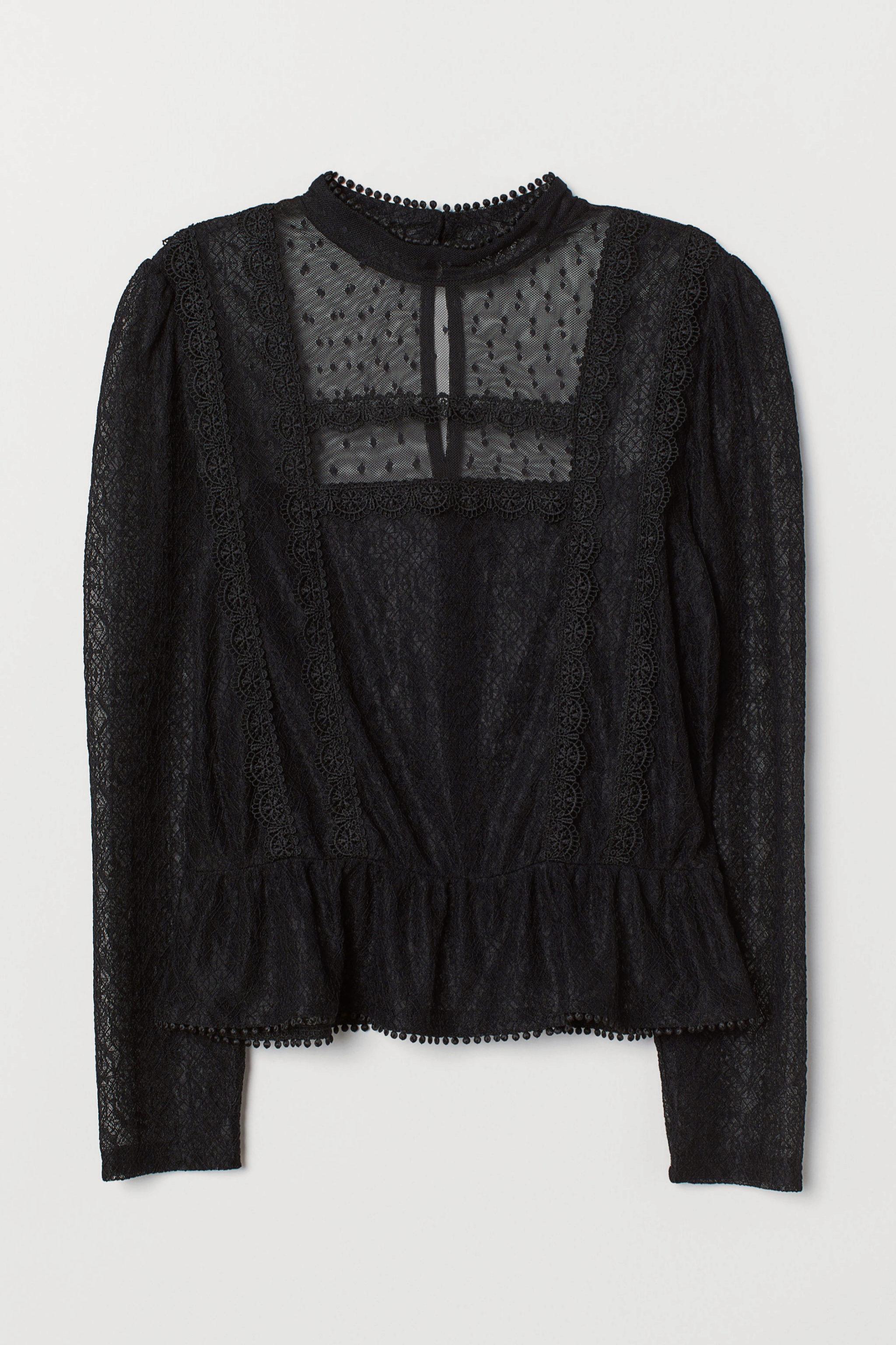 Blusa con transparencias y encaje de H&M