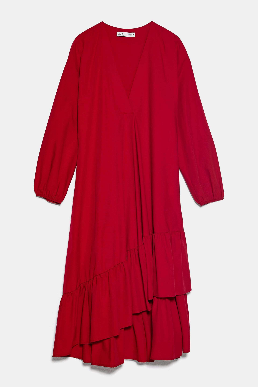 Vestido de popelín en color rojo de Zara