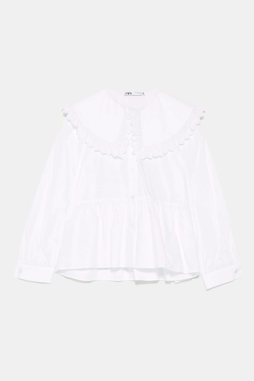 Blusa con cuello bobo de Zara
