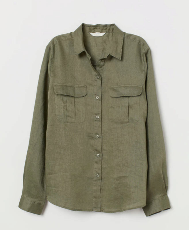 Camisa de lino militar