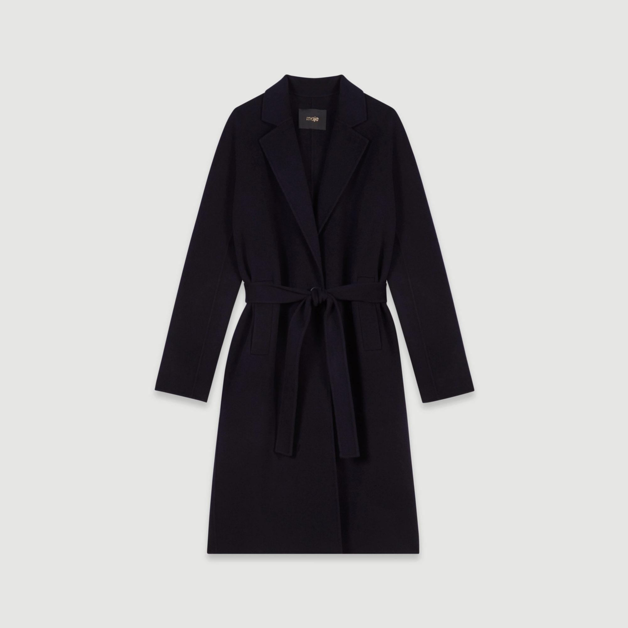 Abrigo de lana con cinturón de Maje