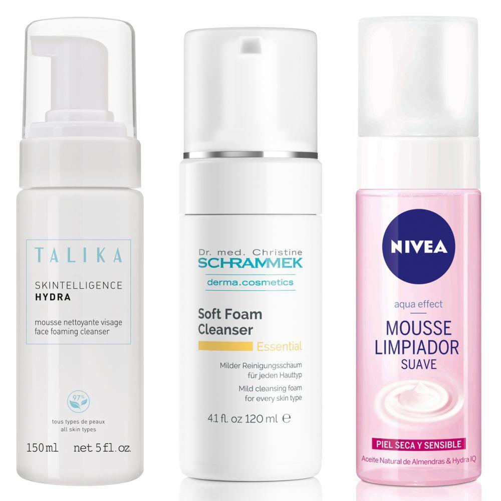 Espuma limpiadora hidratante, Talika; Soft Foam Cleanser, Schrammek; Mousse Limpiador Suave Aqua Effect, Nivea.