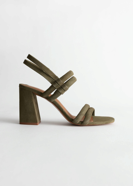 Sandalias de tacón de ante verde khaki de COS (89¤)