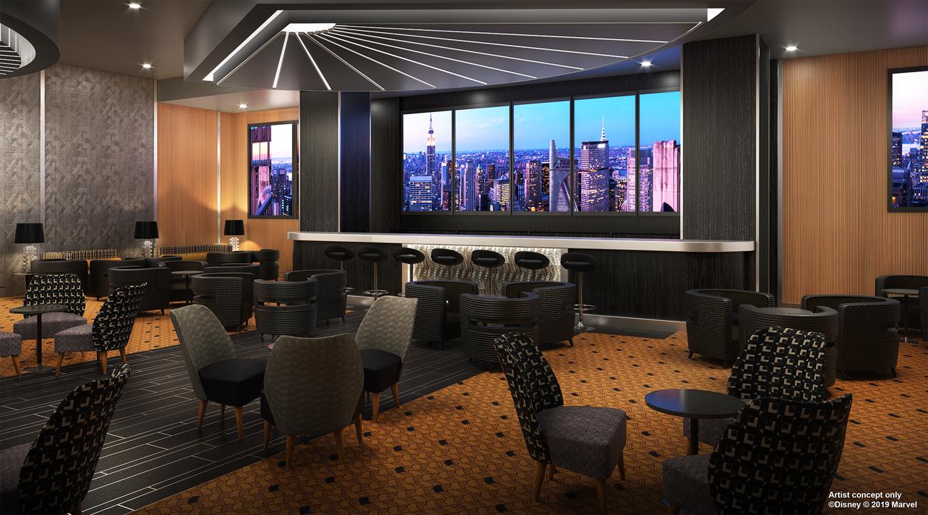 El Sky Bar del Disney's Hotel New York The Art of Marvel