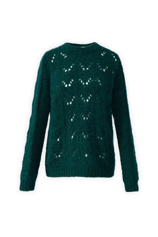Jersey de lana calado en verde botella de Gerard Darel