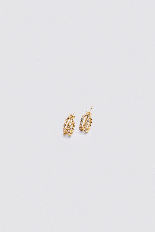 Pendientes de circonitas con aro doble en plata de ley y oro de 24...