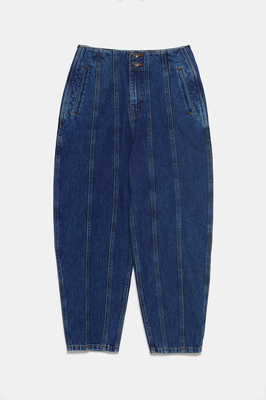 Pantalón denim con costuras con corte 'slouchy' de Zara