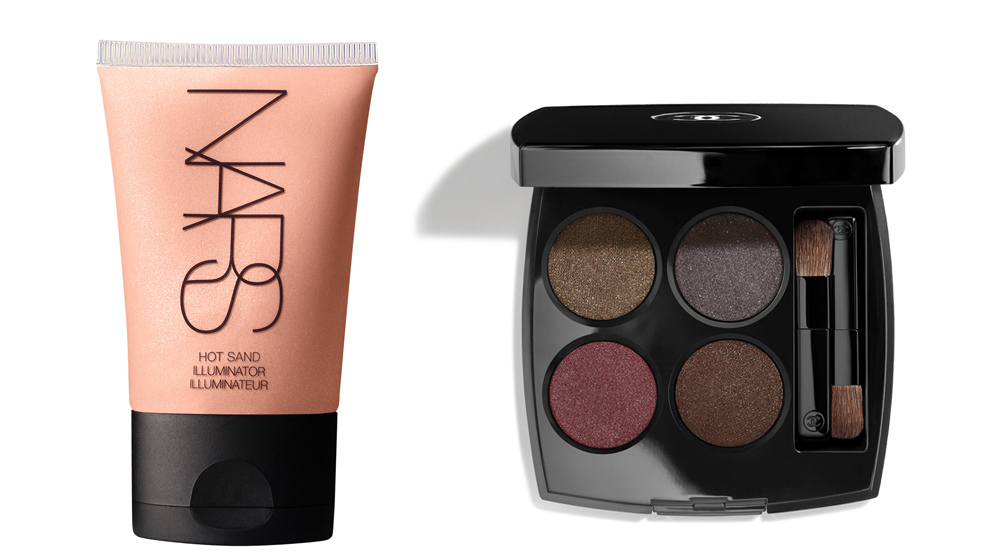 Hot Sand Illuminator, <strong>Nars</strong> (32 euros); Les 4 ombres...