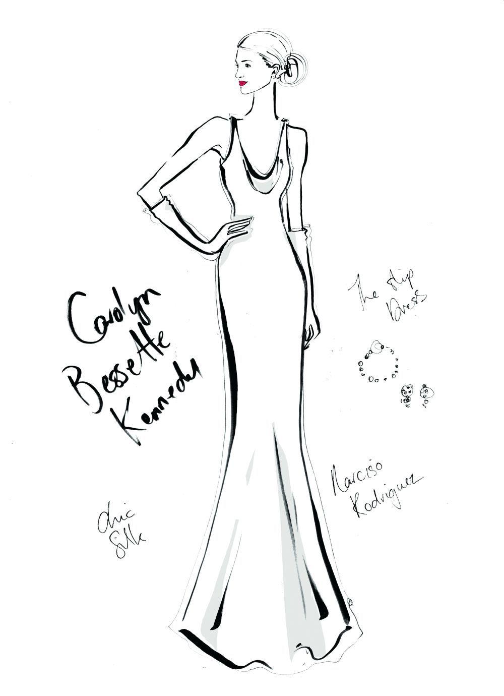 Carolyn Bessete-Kennedy y su vestido de novia de Narciso Rodriguez,...