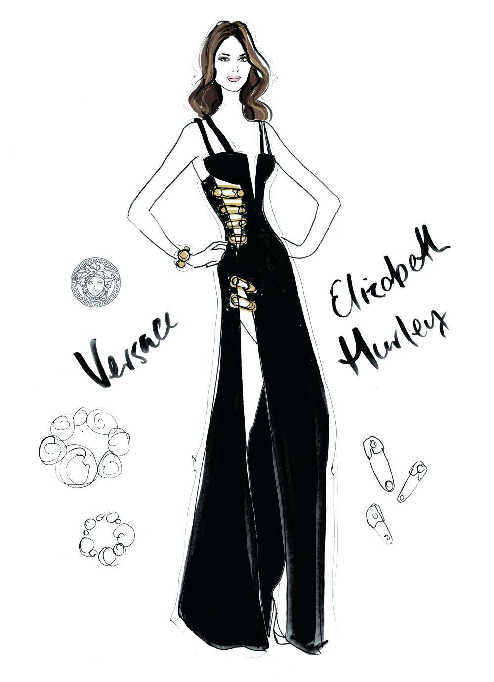 Elizabeth Hurley con vestido de Versace, año 1994