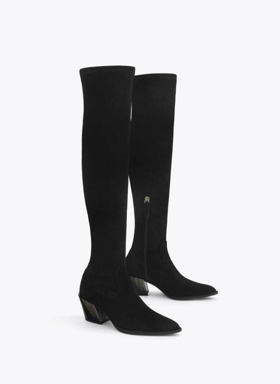Botas de caña alta en color negro de Uterqüe