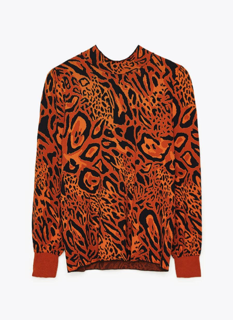 Jersey de jacquard con estampado de leopardo de Uterqüe