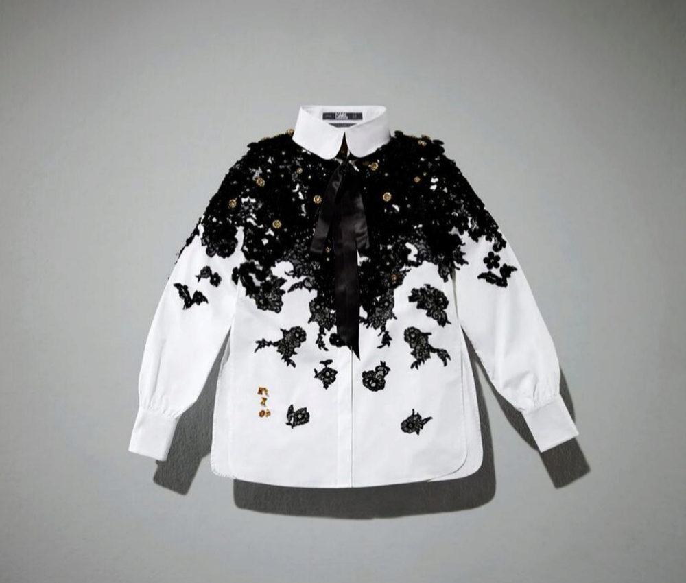 Camisa blanca diseño de Olivia Palermo para el homenaje a Karl...
