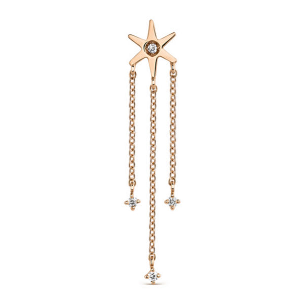 Pendiente en oro rosa con estrella de la colección Orion de Suarez