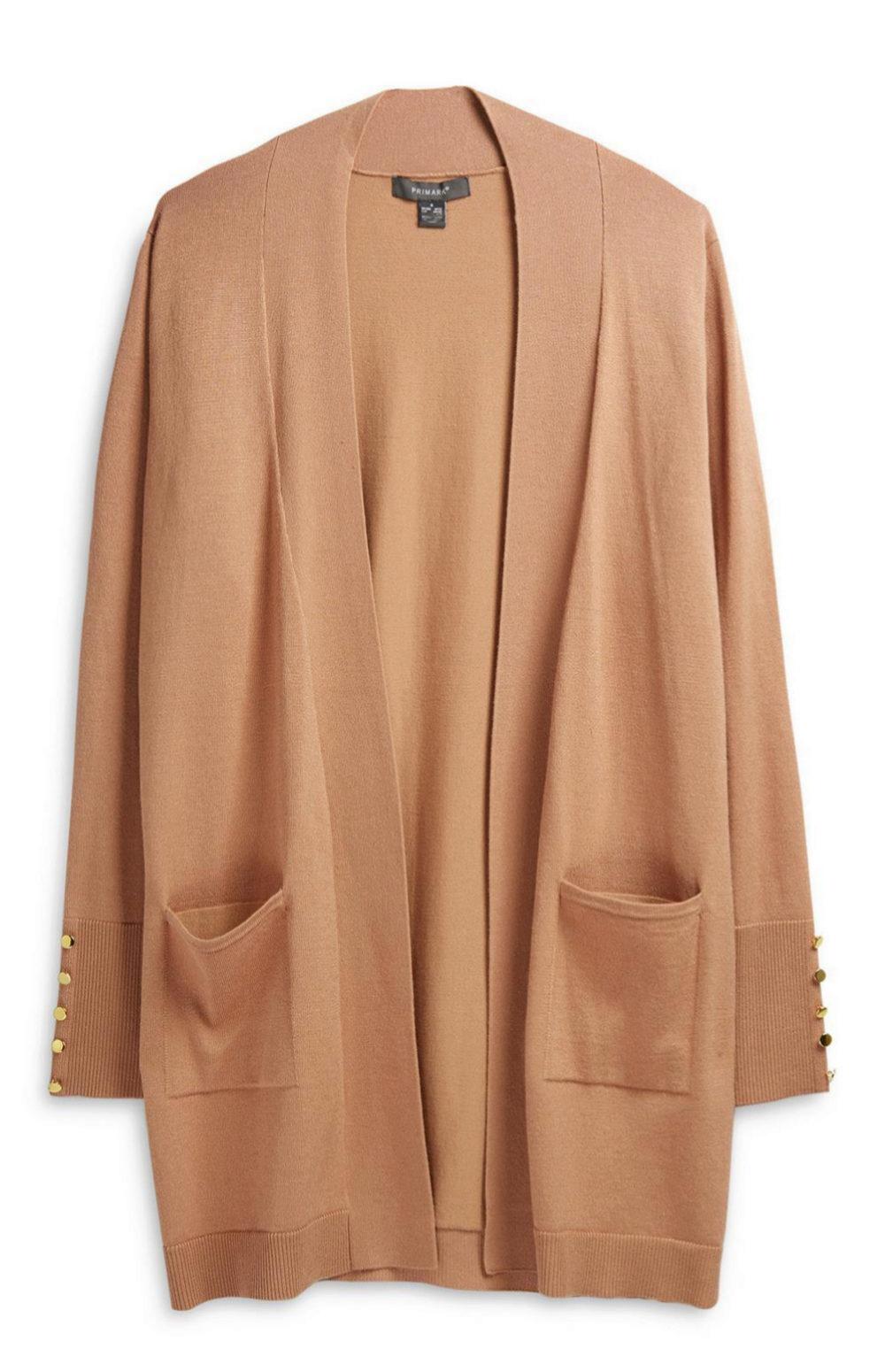 Cárdigan color camel sin botones de Primark