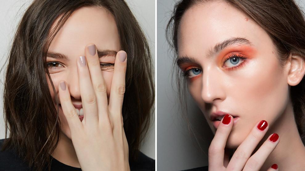 Manicura gris clarito de la firma Elie Tahari y uñas rojas oscuras,...