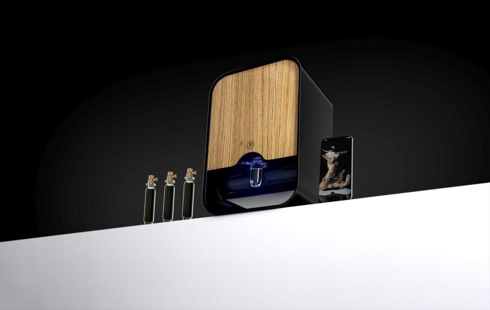 Scent Creator con las pruebas de fragancias y la aplicación móvil...
