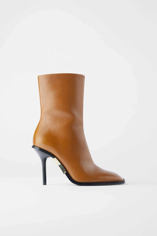 Botines de tacón de punta cuadrada de Zara