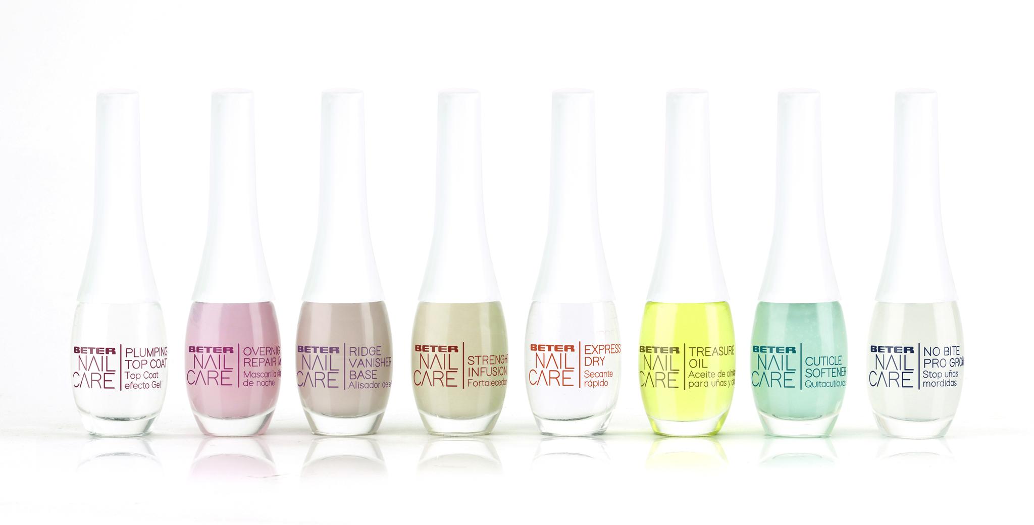Los 8 productos de tratamiento de la gama Nail Care de Beter.