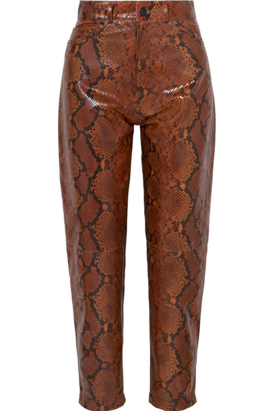 Pantalones de piel efecto serpiente de Attico para Net a Porter