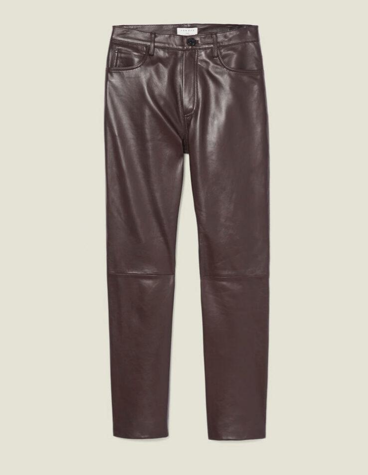 Pantalones de piel en chocolate de Sandro