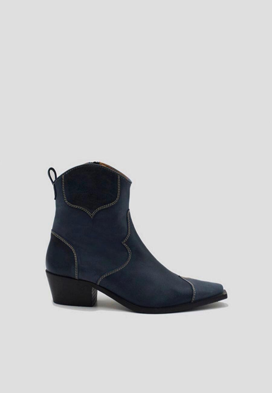 Botines de cuero en azul de Alohas Sandals
